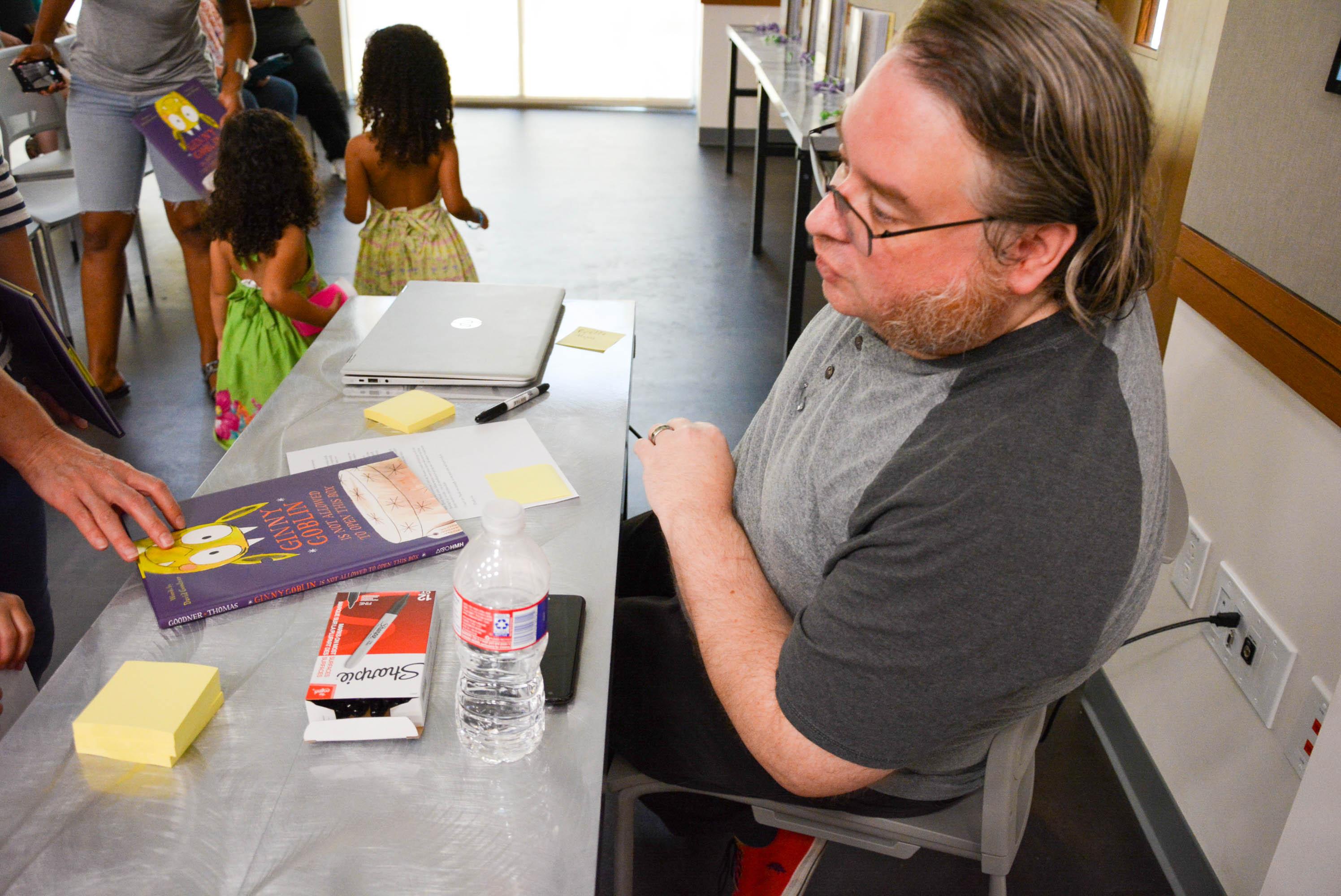 David Goodner signing books